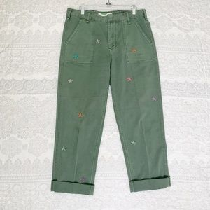 Anthropologie Flower Embroidered Utility Pants